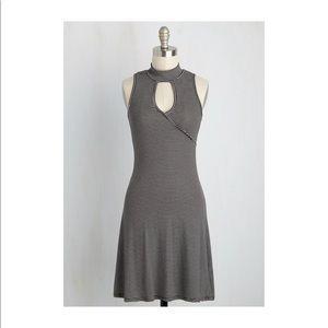 ModCloth striped mock neck skater dress